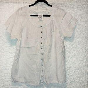 Button down linen blouse, size 14/16